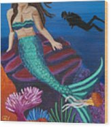 Brunette Mermaid With Turquoise Tail Wood Print