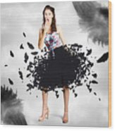 Brunette Pin-up Woman In Gorgeous Feather Skirt Wood Print
