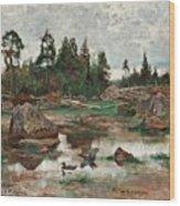 Bruno Liljefors,   Landscape From Uppland Wood Print