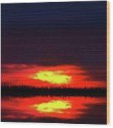 Brush Fire Sunset Wood Print
