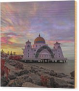 Brush Stroke Cloud Over Selat Mosque Wood Print
