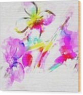 Brushed Abstract Flowers Wood Print
