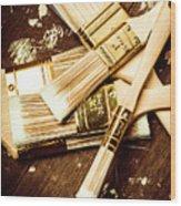 Brushes Of Interior Decoration Wood Print