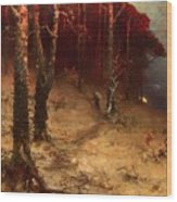 Brushwood Collector Bordering The Woods Wood Print