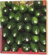 Brussel Sprouts , Cucumbers And Carrots Wood Print