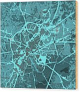 Brussels Traffic Abstract Blue Map And Cyan Wood Print