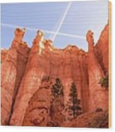 Bryce Canyon Hoodoos With Contrails Wood Print