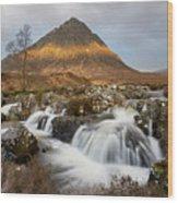 Buachaille Etive Waterfalls Wood Print