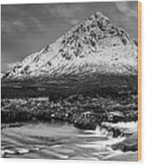 Buachaille Winter Panorama Mono Wood Print