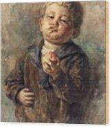 Bub Mit Apfel In Der Hand Wood Print