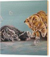 Bubble Cats Wood Print