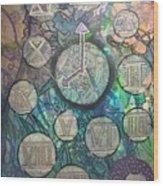 Bubble Clock Wood Print