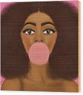 Bubble Gum Girl Wood Print