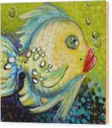 Bubbles Fish Wood Print