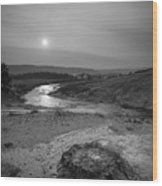 Bubbling Hot Spring In Yellowstone National Park Bw Wood Print