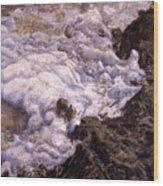 Bubbling Sea Rocks Wood Print