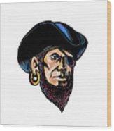 Buccaneer Eye Patch Scratchboard Wood Print