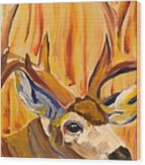 Buck In Fiery Sunset Wood Print