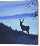 Buck Silhouette In Blue Wood Print