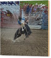 Bucking Bronco Wood Print