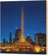 Buckingham Fountain Nightlight Chicago Wood Print