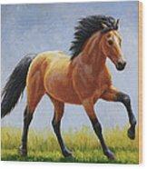 Buckskin Horse - Morning Run Wood Print