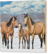 Buckskin Horses In Winter Pasture Wood Print by Crista Forest