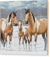 Buckskin Paint Horses In Winter Pasture Wood Print by Crista Forest