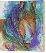 Bucky The Mustang In Watercolor Wood Print