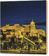 Buda Castle At Night Wood Print