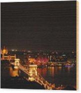 Budapest At Night Hungary Wood Print