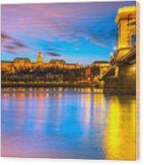Budapest - Chain Bridge And Buda Castle -  Hungary Wood Print