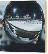 Budapest Globe - City Park Ice Rink Wood Print