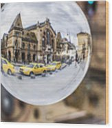 Budapest Globe - Great Market Hall Wood Print