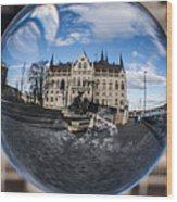 Budapest Globe - Houses Of Parliament Wood Print