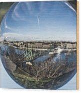 Budapest Globe - Liberty Bridge Wood Print