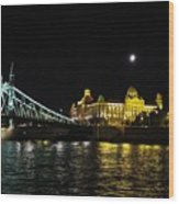 Budapest On The Danube At Night Wood Print