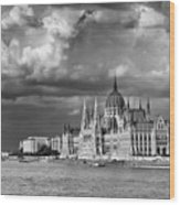Budapest Parliament From The Chain Bridge Wood Print