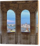 Budapest Parliament From The Fishermans Bastion Wood Print