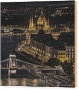 Budapest View At Night Wood Print