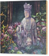 Budda Statue And Pond Wood Print