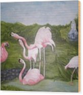 Buddah And The Flamingos Wood Print