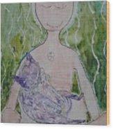 Buddess And Cat Wood Print