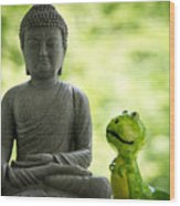 Buddha And Buddy Wood Print
