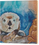 Buddha And The Divine Otter No. 1374 Wood Print