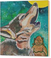 Buddha And The Divine Wolf No. 1370 Wood Print