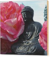 Buddha And Roses Wood Print