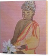 Buddha And The Lotus Blossom Wood Print