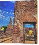 Buddha Doorway At Wat Worachetha Ram In Ayutthaya, Thailand Wood Print