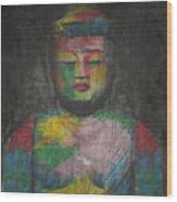 Buddha Encaustic Painting Wood Print